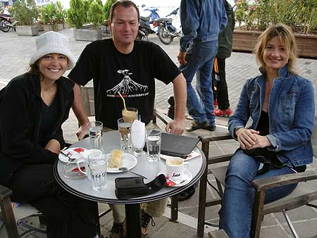 Regina, Tobias and Karen in a cafe on Poros Island, Greece (Saronic Gulf tour, Oct. 2005).